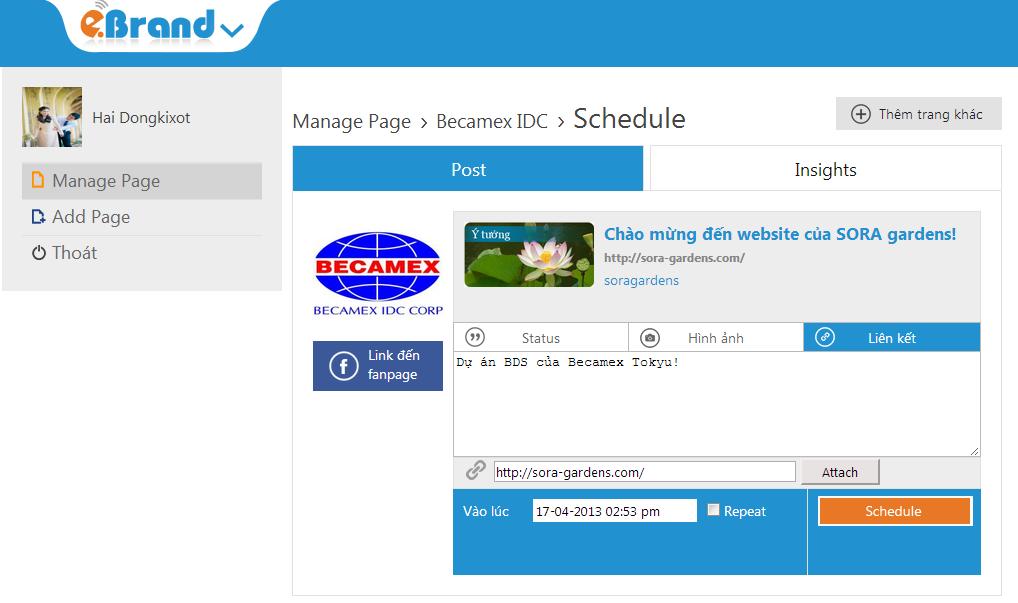 Một số chức năng cơ bản cho phép admin quản lý lịch cập nhật những thông tin lên Fanpage.